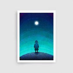 Illustration  Moonlight  Fine art illustration  Fine art by tubidu, $20.00