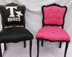 Accent Chair Set Grease Pink Ladies Chair T by GreenThumbEtc How To Look Pretty, Pretty In Pink, Accent Chair Set, Black Ruffle, Pink Ladies, Grease, Birds, Pure Products, Trending Outfits