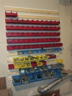My Akro type bin solution - homemade mount track - The Garage Journal Board