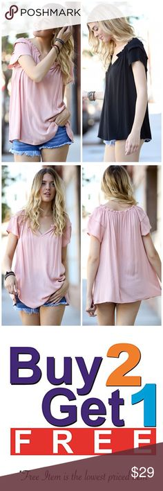 🚨❗️SALE❗️🚨Dust Pink Ruffle Sleeve Top Ruffle sleeve top featuring a V neckline line. Available in Black and Dust pink. This listing is for DUST PINK. Silk. Fits true to size. Marled. MADE IN USA. Made of rayon/ spandex blend. Bchic Tops