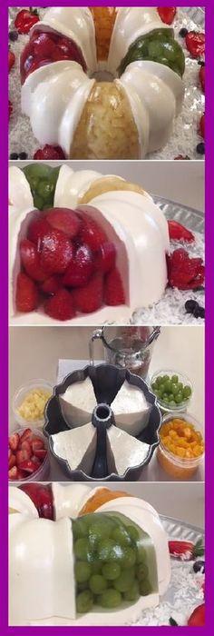 "Gelatin With Encapsulated Fruits and Natural Yogurt ""By Creaciones Prin. Dessert Oreo, Jello Desserts, Jello Recipes, Mexican Food Recipes, Sweet Recipes, Dessert Recipes, Yummy Treats, Sweet Treats, Jello Cake"