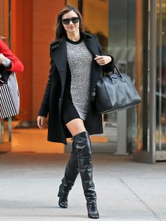 Miranda Kerr  dress: Alexander Wang  Thigh high boots: Hermès