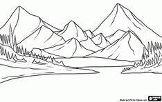 Large lake with the fir trees of the forest and mountains as a backdrop coloring page