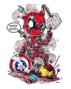 (Chibi Deadpool) By: Chibi Marvel, Ms Marvel, Marvel Art, Marvel Dc Comics, Baby Marvel, Marvel Cartoons, Avengers Art, Deadpool Wallpaper, Marvel Wallpaper