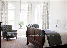 master bedroom, chevron curtains