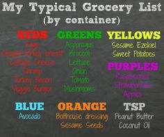 #21DayFix sample grocery list.  Here are some meal planning tips & tricks for The 21 Day Fix!