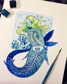 Skeleton mermaid🐠 inspired by those cool translucent fish where you can see all the bones and stuff! Pretty Art, Cute Art, Cute Drawings, Drawing Sketches, Character Art, Character Design, Mermaid Skeleton, Mermaid Art, Art Inspo