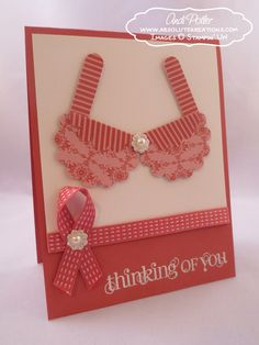 Breast Cancer Awareness Curly Cute Punch Art Bra - Andi Potler, Independent Stampin Up Demonstrator