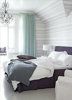 purple grey white green bedroom