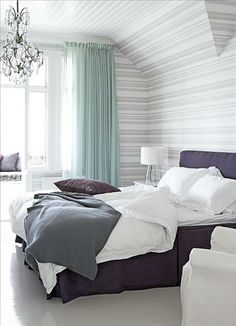 purple grey white green bedroom