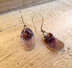 Artisan copper hammered oval and genuine garnet by Amayeli on Etsy, $20.00