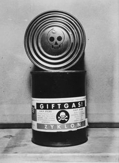 A canister of Zyklon B found in the Dachau concentration camp and clearly marked as poison with a skull and crossbones