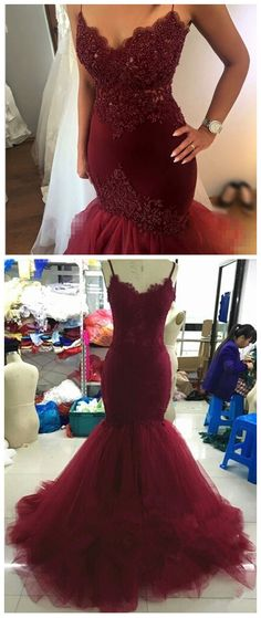 Heavy Beading Burgundy Mermaid Prom Dresses Sexy Sheer Spaghetti Straps Corset Ruffles Skirt Sweep Train Evening Dress Gown 2017 by comigodress, $178.79 USD