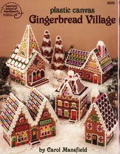 Plastic Canvas Gingerbread Village ~ intermediate level ~ plastic canvas ~ decorate with lace and beads ~ complete grouping incl. trees and church ~ PLASTIC CANVAS Gingerbread House Patterns, Gingerbread Village, Christmas Gingerbread House, Christmas Cross, Christmas Town, Gingerbread Man, Christmas Diy, Plastic Canvas Books, Plastic Canvas Christmas