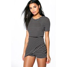 Boohoo Alex Striped Skort Playsuit ($30) ❤ liked on Polyvore featuring jumpsuits, rompers, black, black golf skirt, black rompers, golf skirts, striped rompers and striped jersey