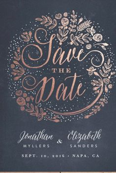 Announce your wedding day with foil pressed Save The Date cards. Shop The Wedding Bouquet Foil-Pressed Save The Date Cards by Phrosne Ras at minted.com
