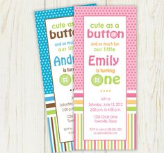 Cute as a Button Birthday Invitation Printable  by eloycedesigns, $10.00