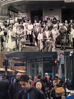 Rush hour at the corner of George and Park Streets, Sydney c1970 > 2016. [David Austen (source unknown) > Phil Harvey. By Phil Harvey @philharvey65]