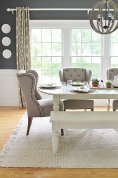 love a versatile dining room! Add a bench to one side of the table for additi We love a versatile dining room! Add a bench to one side of the table for additi. We love a versatile dining room! Add a bench to one side of the table for additi. Dining Room Sets, Farmhouse Dining Room Table, Dining Room Design, City Farmhouse, White Dining Room Table, Dining Room Windows, Navy Dining Chairs, Wing Chairs, Accent Chairs