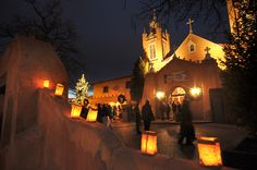 San Felipe de Neri Catholic Church in Old Town, adorned with luminarias