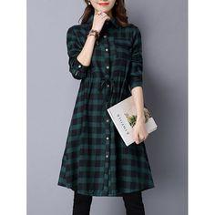 Plaid Drawstring Button Shirt Dress