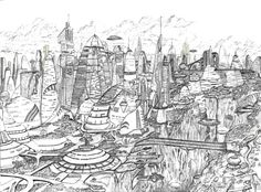 Ciudad futurista. Un dibujo de 2003