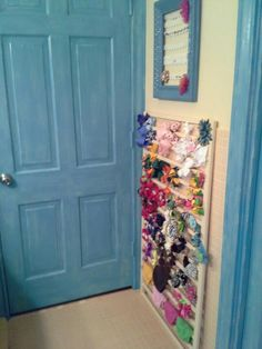 Finished little girls bathroom, bow rack made from side of baby bed I rescued.