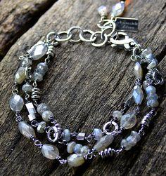 Labradorite Three Strand Bracelet Sterling Silver Handmade Wild Prairie Silver Jewelry