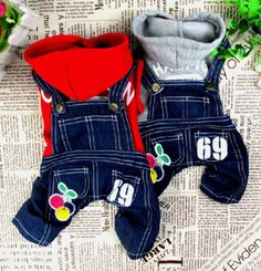 Cherry Sweater Jeans Overalls Jumpsuit Small Dog Clothes Costume 5 Size | eBay