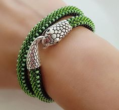 Snake-Snake bracelet-Beaded snake necklace-Snake jewelry-Green