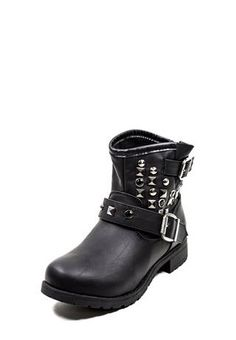 STUDDED MOTO-STYLE ANKLE BOOTIES