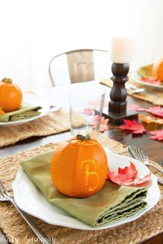 thanksgiving table setting ideas - monogrammed pumpkins