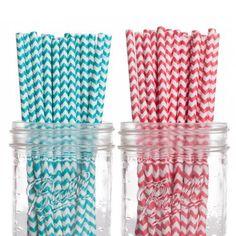 Dress My Cupcake 50-Pack Vintage Paper Straws, Chevron, Aqua/Red, http://www.amazon.com/dp/B00CHJPPDY/ref=cm_sw_r_pi_awdm_fy.Htb0M7VXNN
