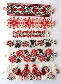 Six Ukrainian Ornament Bracelets, Sova Enterprises Beaded Bracelet Patterns, Bead Loom Patterns, Beading Patterns, Beaded Bracelets, Folk Embroidery, Cross Stitch Embroidery, International Craft, Bohemian Pattern, Ukraine