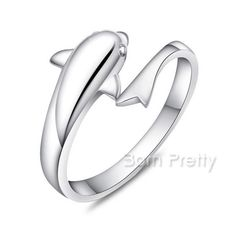 $2.50 1Pc Cute Dolphin Fashion Amazing Free Size Ring Open Adjustable Rings - BornPrettyStore.com