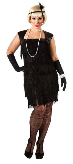 1920s Black Fringe Flapper Dress More Plus Size Flapper Costume 3a808a9d4718
