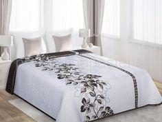Luxusné obojstranné prehozy na posteľ bielej farby s hnedými kvetmi