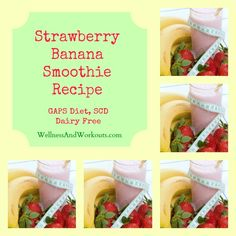 Strawberry Banana Smoothie Recipe, sweetened with honey! Click through to get this delicious, dairy free coconut milk smoothie recipe!