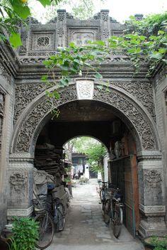 entrance of a hutong, Beijing, China Ancient Chinese Architecture, China Architecture, Beijing China, Hutong Beijing, Shanghai, Peking, Vietnam, Hong Kong, China Travel