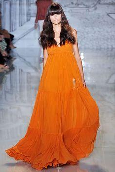 "Burnt orange, maxi dress.    "":O)"