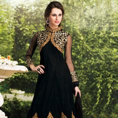 Black Net Anarkali Churidar Kameez Online Shopping: KRV8