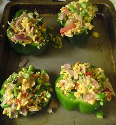 Stuffed Bell Peppers: with your choice of meat (here ham) and veggies sauteed in coconut oil, then scrambled an egg. Stuff and bake! (paleo)
