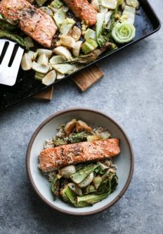 Sesame Sheet Pan Salmon with Baby Turnips and Bok Choy   Quick, One Pan, Healthy, Gluten-Free, Low FODMAP Recipe   feedmephoebe.com