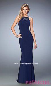Buy Long La Femme Open Back Sleeveless Prom Dress at PromGirl