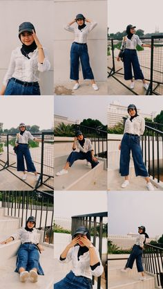 Shooting special poses at Taman Lapangan Banteng. Modern Hijab Fashion, Hijab Fashion Inspiration, Ootd Poses, Best Photo Poses, Portrait Photography Poses, Casual Hijab Outfit, Hijabi Girl, How To Pose, Girl Poses