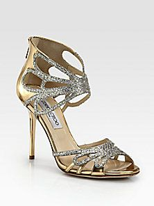 Jimmy Choo - Melody Glitter & Metallic Leather Sandals