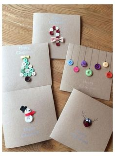 Custom Christmas cards handmade with buttons and buttons- Individuelle Weihnachtskarten handgemacht mit Knöpfen und Schleife. 6 Designs Custom Christmas cards handmade with buttons and bow. Button Christmas Cards, Christmas Card Crafts, Christmas Cards To Make, Christmas Wrapping, Holiday Crafts, Christmas Doodles, Christmas Cards Handmade Kids, Christmas Trees, Button Cards