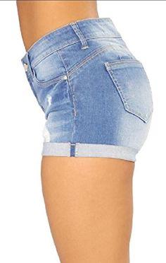 10d59d2f6e FLCH YIGE Womens Slim Fit Mid Waist Ripped Stretch Denim Shorts,#Slim,  #Fit, #Womens, #FLCH