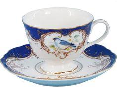 2 Royal Blue Bird Porcelain Tea Cups and Saucers