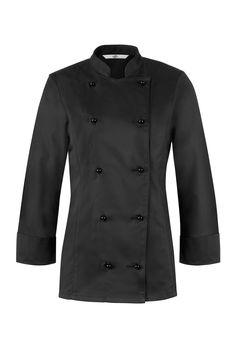 Die schwarze figurbetonte Kochjacke für Damen mit Stehkragen macht eine gute Figur in der Küche oder Backstube. Elekanter Look durch Wiener Nähte im Rücken und doppelte 5-Knopfleiste.